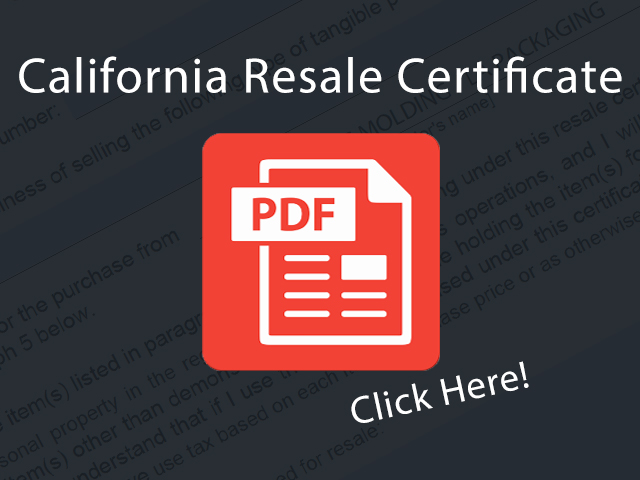 LAPackaging California Resale Certificate Form